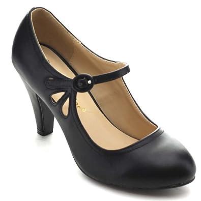 f4136081da3 Chase   Chloe Kimmy-21 Women s Round Toe Pierced Mid Heel Mary Jane Style  Dress