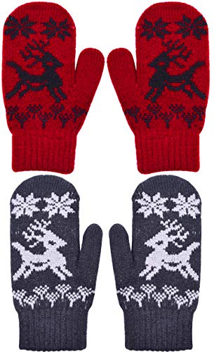 YJDS Kids Cashmere Mittens Warm Winter Gloves Knit Stretch 2 Pairs Red Black Elk 1-3 Years