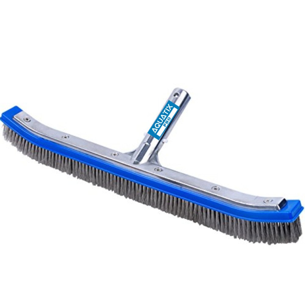 "Aquatix Pro Heavy Duty Pool Brush 18"" Strong Aluminium Swimming Pool Cleaning Brush with Stainless Steel Bristles & EZ Clips, These Heavy Duty Brushes Cleans Walls, Tiles & Floors Effortlessly"