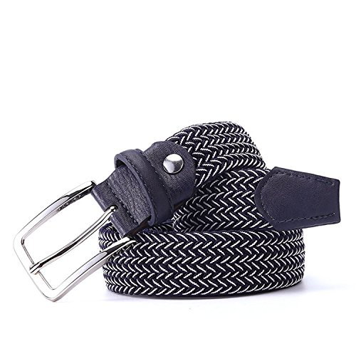 Belt Men Woven Elastic Stretch Belt Braided Knitted Stretch Belt With Covered Buckle1-3/8