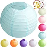 TtS Tissue Round Paper Lanterns Lamp Shade Party Decoration- Lantern Light Blue | 10'(25cm)-1p