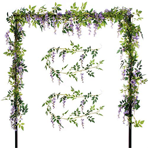 Felice Arts 2 Pcs Artificial Flowers 6.6ft/Piece Silk Wisteria Ivy Vine Green Leaf Hanging Vine Garland Wedding Party Home Garden Wall Decoration (Purple)