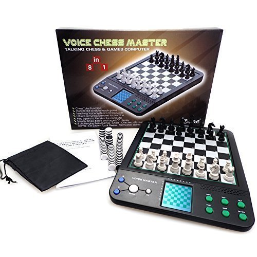 iCore Electronic Talking Chess Computer Set, Magnetic Travel Voice Chess Academy Boards Sets, Checkers Set Chessboard, Portable Board Games, Computer Chess Practice Tactics for Kids Adults