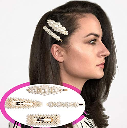 FOUR PEARL HAIR CLIPS SET - Great for hairstyles with barrettes, bobby pins, bows, ties, hairpins or hair combs.Use for weddings, proms, evenings, parties, daily life, work, school, and holidays