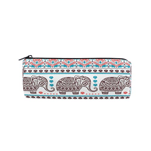 ALAZA Vintage Graphic Indian Lotus Ethnic Elephant Animal Pencil Pen Case Pouch Bag with Zipper for Girls Kids School Student Stationery Office Supplies by ALAZA