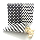 Party Supply Goodie Bag Kit, Black (75 Pack) - Scoop Candy Buffet Treats At Birthdays, Weddings & Baby Showers