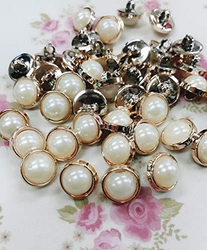 20 Pearl Rose Gold Rim 13mm Sewing Shank Button/Trim/Craft/Vintage/Dress