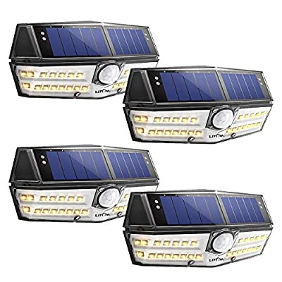 LITOM Premium Solar Lights Outdoor with 270°Wide Angle Illumination(4 Pack), IP67 Waterproof Wireless Solar Motion Sensor Lights,Easy-to-Install Security Lights for Front Door, Yard, Garage, Deck