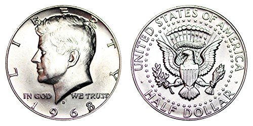 1968 D Kennedy Half Dollar 40% Silver 1/2 Brilliant Uncirculated (Uncirculated Nice Coin)