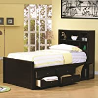 Coaster 400180F Full Chest Bed Bookcase Headboard In Cappuccino Finish