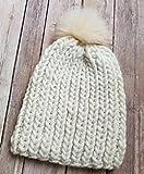 Womens White Chunky Beanie Hat Handmade with Faux Fur Pom Pom