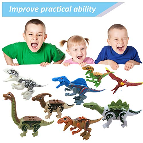 Euone  Dinosaur Toy, 8 PCS Mini Dinosaur Toy Playset DIY Dinos Building Block Action Figures Gift for Kids