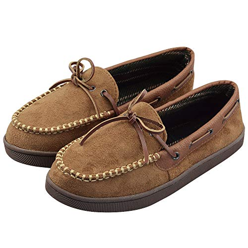 Moccasins for Men Size 13 Indoor Outdoor Slip-On Memory Foam with Anti-Slip Rubber Sole Brown