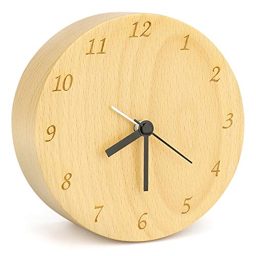 Laelr Reloj despertador de mesa de madera de haya, reloj de alarma silencioso con rayas de madera redondeadas hechas a mano Relojes de madera maciza naturales retro hechos a mano
