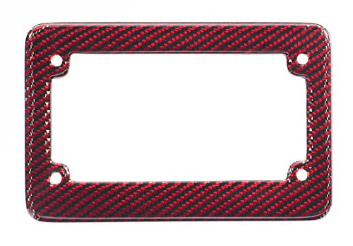 BLVD-LPF OBEY YOUR LUXURY  Real 100% Red Carbon Fiber Motorcycle License Plate Frame with Matching Screw Caps - 1 Frame Boulevard Los Angeles Inc.