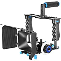 Neewer Aluminum Alloy Camera Movie Video Cage Kit Film Making System includes (1)Video Cage+(1)Top Handle Grip+(2)15mm Rod+(1)Matte Box+(1)Follow Focus,for DSLR Camera Such as Canon Nikon Sony Olympus