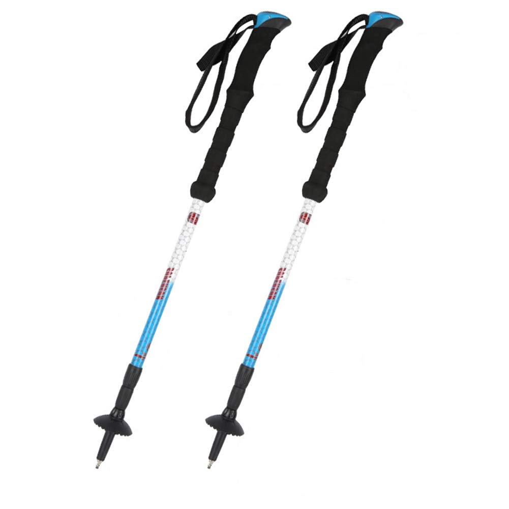 LOO LA Bastones de Senderismo,Barra de aleación de Aluminio de Bloqueo Interno 3 sección de Senderismo telescópico Pole Walking Stick Trekking Polo (2PCS)