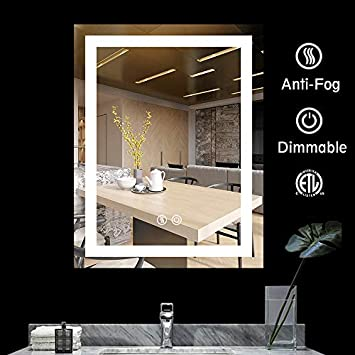 BATH KNOT LED Bathroom Makeup Vanity Mirror with Lights-Wall Mounted Backlit Mirror, Vanity Lighted Mirror with ETL Certification for Whole Mirror, 28 x 36 Inch