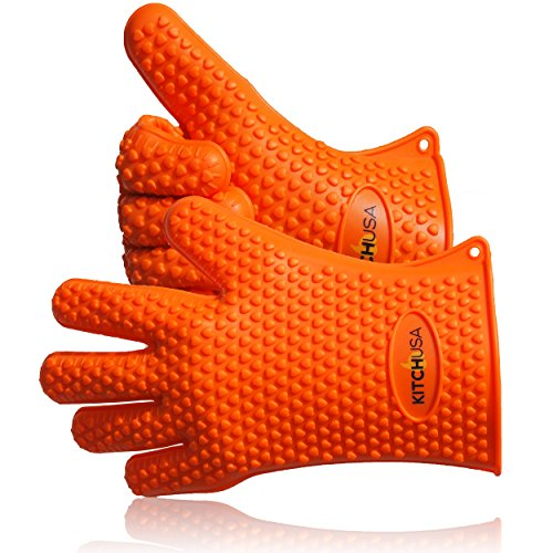 Best Price! Heat Resistant Silicone Cooking Gloves by KitchUSA. Orange Insulated Barbeque Gloves tha...