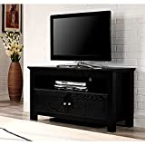 Multi Media TV Stand with Cabinet and Open Shelves Black Wooden Rectangular Up to 48 Inch Flat Screen Panel Living Room Media Center & eBook by Easy&FunDeals