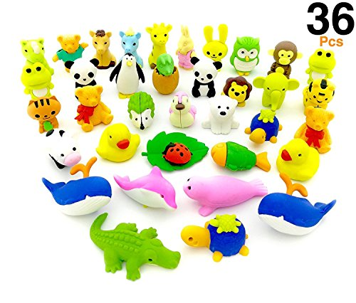 O'Hill 36 Pack Pencil Erasers Zoo Animal Puzzle Erasers for