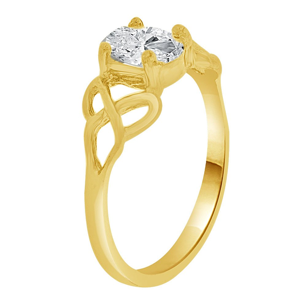 14k Yellow Gold Mini Size Child or Adult Pinky Ring Created CZ Classic Design