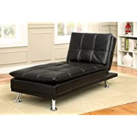 247SHOPATHOME IDF-2677BK-CE Living-Room Lounges, Chaise Dimensions: 65 L x 29 W x 33.5 H, Black