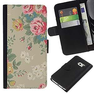 WINCASE ( No Para Normal S6 ) Cuadro Funda Voltear Cuero Ranura Tarjetas TPU Carcasas Protectora Cover Case Para Samsung Galaxy S6 EDGE - Rosas de la vendimia de color rosa de color beige