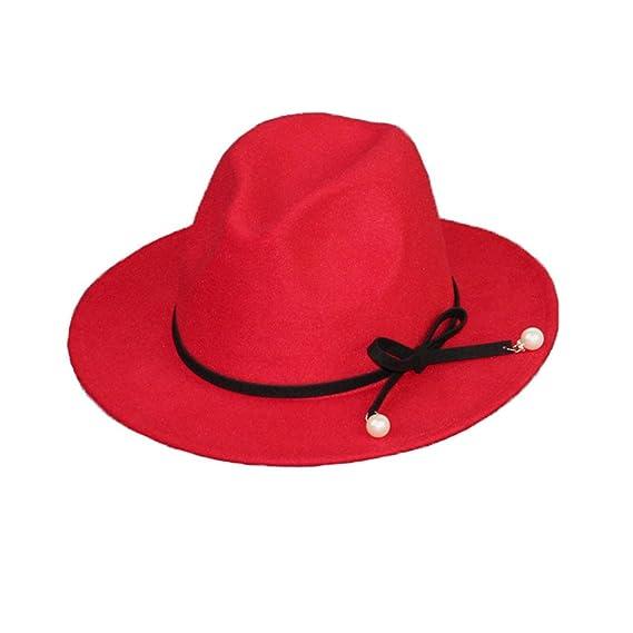 Mujeres Chicas Modernos Otoño Invierno Lazo Perla Sombreros Fedora  Sombreros Trilby Color Camello  Amazon.es  Ropa y accesorios 898b898900c