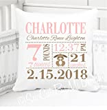 Sew Cute by Me Designs Original Birth Announcement Pillow for Baby Girls Bunny Nursery in Ballet Pink and Brown - Includes Personalized Pillowcase and Pillow Insert - 14x14 or 16x16