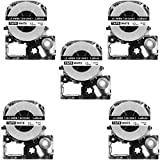 12Mm Label Printer - LK-4WBN Label Tape, LaBold 5 Pack Compatible Epson LabelWorks Label Maker Tape Cassette LC-4WBN (SS12KW) Black on White 1/2