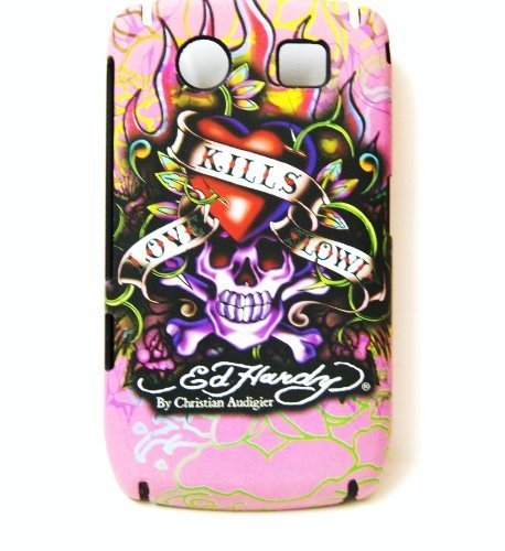 New Pink Ed Hardy Loves Kill Slowly Snap on Hard Skin Back Cover Case for Blackberry Curve 8900 + Premium Lcd Screen Guard in Original (Ed Hardy Curve)