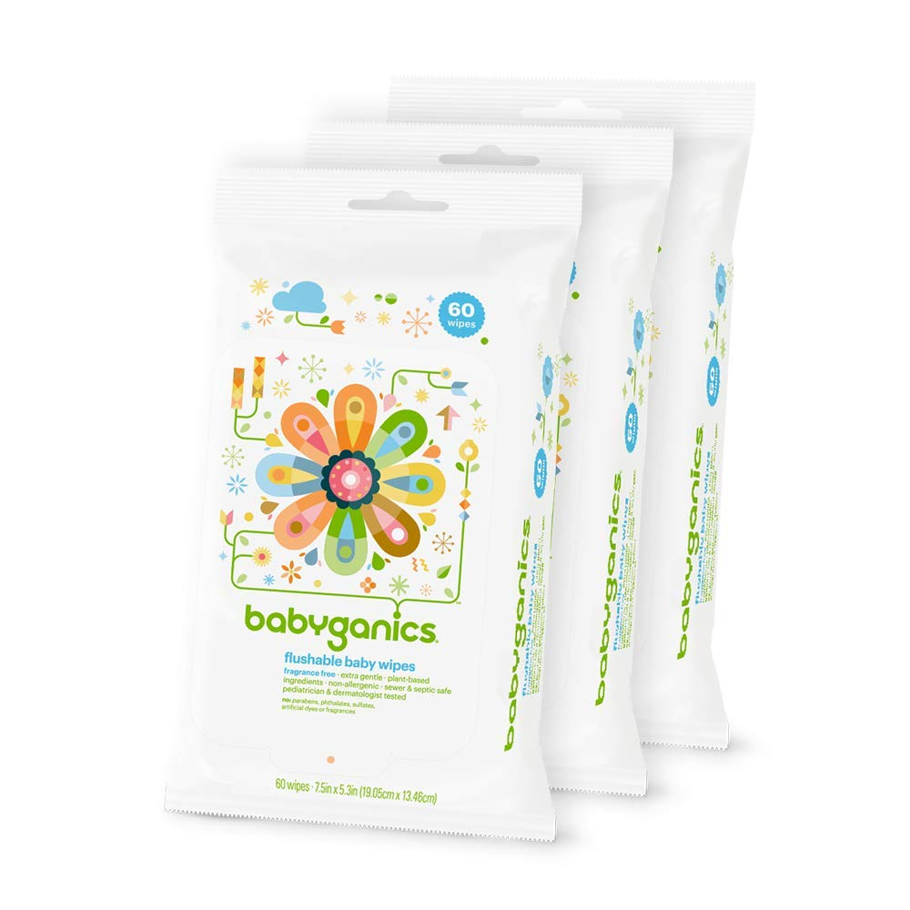 Babyganics Flushable Wipes, 60 ct, 3 pack, Packaging May Vary by Babyganics