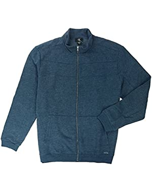 Men's L/S Mix Media Full Zip Jacket-Midnight Heather, 2X-Large