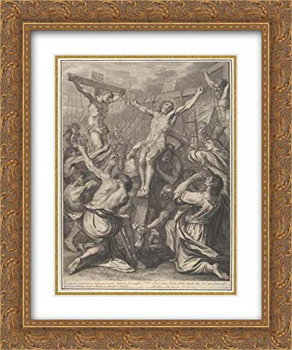 - Gregoire Huret - 20x24 Gold Ornate Frame and Double Matted Museum Art Print - Christ on Raised on The Cross, from The Passion of Christ, Plate 19