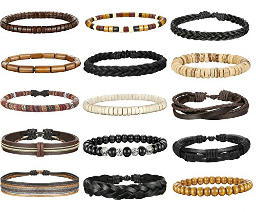 FIBO STEEL 15 Pcs Leather Bracelets for Men Women Wooden Bead Bracelet Adjustable ¡ ()