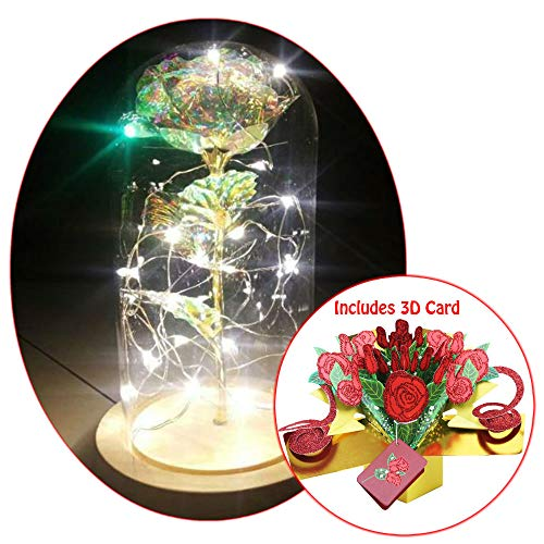 Dan's Collectibles and More Crystal Galaxy LED Rose Mother's Day 2019 Gift & 3D Pop Up Card Beauty & The Beast Anniversary