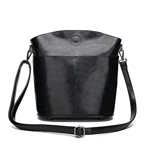 huile mode Ensemble taille Black unique épaule 23cmx4cmx26cm cire cuir Penao d'article Oblique Lady 8qZww6x0