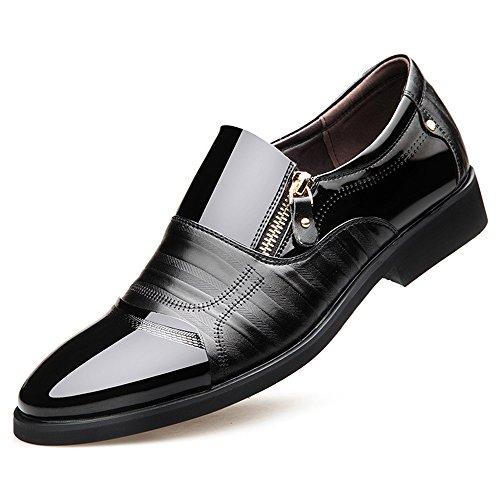 Mens Dress Tuxedo Shoe (Blivener Men's Oxford Zipper Dress Shoes Slip on Business Shoes Black US 12)