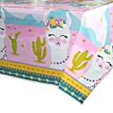 "WERNNSAI Llama Table Cover - 71"" x 43.3"" Party Disposable Plastic Tablecloth, Alpaca Lama Party Supplies for Kid Girl Pink Picnic Birthday Party Decorations"