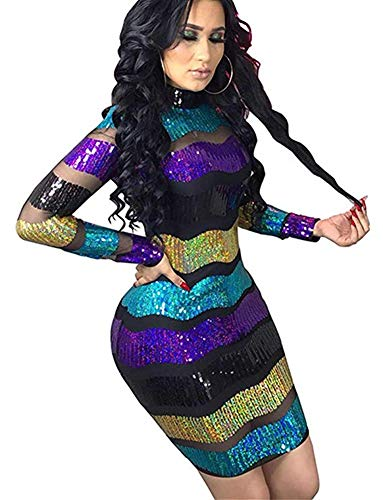 High Neck Sequin Sheer Mesh Dress for Women Black Purple Colorful Striped Glitter Tiered Midi Dress Floral L (Colorful Dresses Club)
