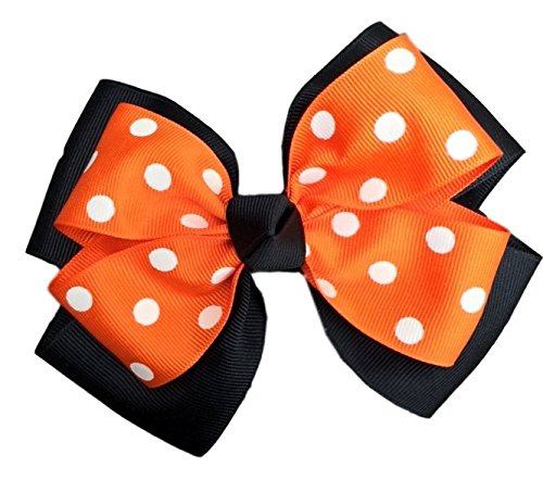 9de061ed6f3a Amazon.com   Victory Bows Polka Dot Double Quad Grosgrain Hair Bow- The  Siena Marie Black and Orange- Made in the USA Pony Tail Band   Beauty