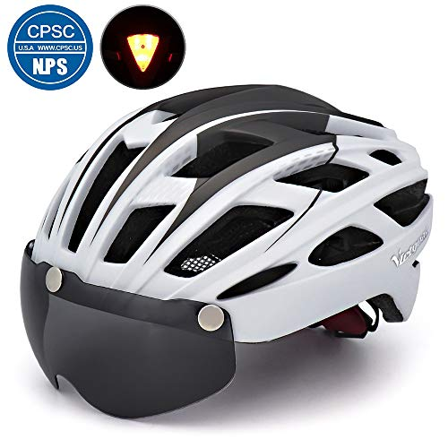 VICTGOAL Bike Helmet for Men Women with Safety Led Back Light Detachable Magnetic Goggles Visor Mountain & Road Bicycle Helmets Adjustable Adult Cycling Helmets (New White) (Best Road Bike Helmet Under 100)