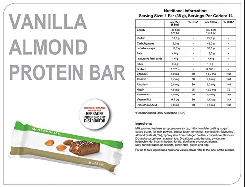 Herbalife Protein Bars - Vanilla Almond (14 bars per box) - 490g ...