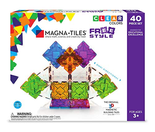 Set Freestyle (Magna-Tiles 18840 40 Piece Freestyle Set, The Original, Award-Winning Magnetic Building Tiles, Creativity & Educational, Stem Approved, Clear Colors and Translucent (Pack of 40))