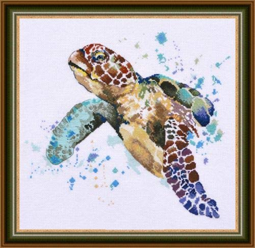 Zamtac Gold Collection Chic Counted Cross Stitch Kit The Greatness of Longevity Sea Turtle - (Cross Stitch Fabric CT Number: 18CT unprint Canvas) ()