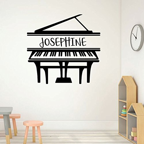 Grand Piano Wall Art - Personalized Name Musician Vinyl Decal for Music Room, Studio, Practice Area, School Classroom, Academy, or ()