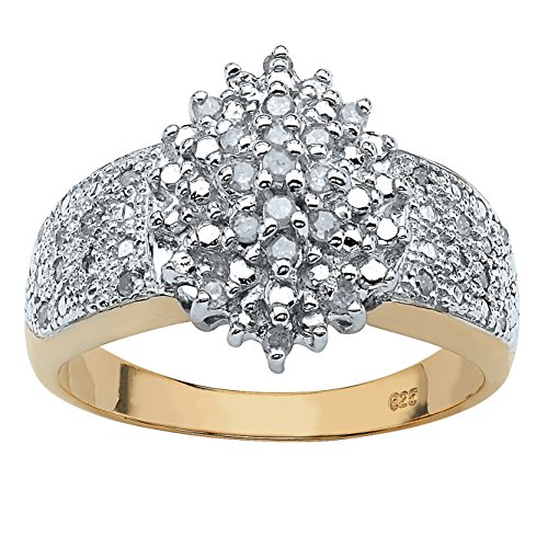 Diamond 18k Gold over .925 Silver Marquise-Shaped Cluster Ring (.25 cttw, HI Color, I3 Clarity) Size 10