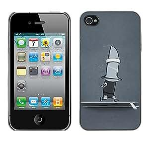 TopCaseStore / la caja del caucho duro de la cubierta de protección de la piel - Funny Running Shark Knife - Apple iPhone 4 / 4S