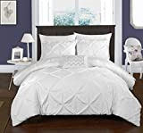Chic Home 4 Piece Daya Duvet Cover Set, King, White